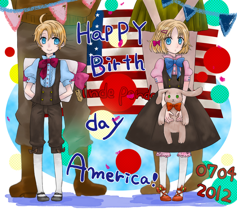 2girls ahoge america_(hetalia) axis_powers_hetalia bad_id blonde_hair blue_eyes child dual_persona fourth_of_july genderswap gift hair_ornament hairclip mkmx multiple_boys multiple_girls pantyhose stuffed_animal stuffed_toy young