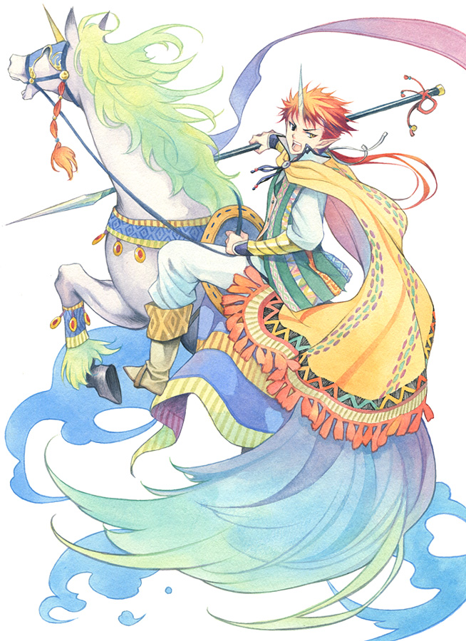 agahari boots cape heterochromia horn long_hair male orange_hair original pointy_ears polearm ponytail simple_background solo spear traditional_media unicorn weapon