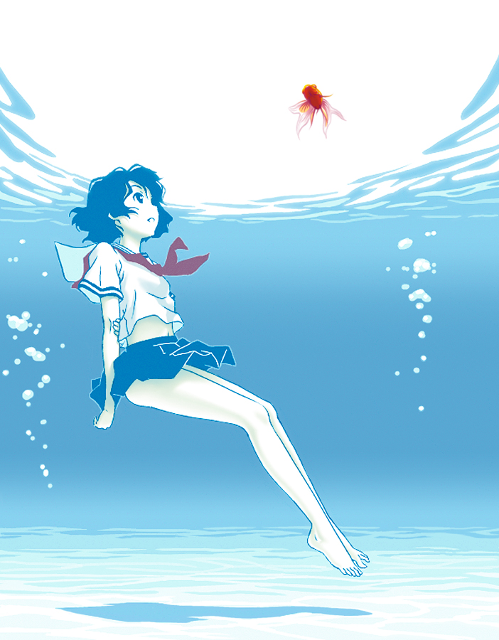 afloat bare_legs barefoot black_hair bubble feet fish floating francine_(daijaemon) freediving ocean original sand school_uniform serafuku swimming toes underwater water