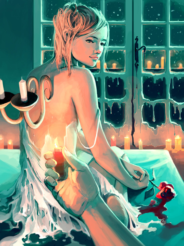 blonde_hair candle cyril_rolando flower original rose star