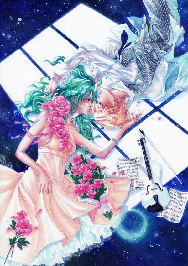 androgynous aqua_hair bishoujo_senshi_sailor_moon bouquet dress eye_contact flower formal hair_grab instrument jewelry kaiou_michiru long_hair looking_at_another lying marker_(medium) moonlight multiple_girls musical_note nao-ren necklace pant_suit paper petals pink_rose reverse_trap rose rose_petals sheet_music short_hair sky star_(sky) starry_sky striped suit ten'ou_haruka ten'ou_haruka tomboy traditional_media violin yellow_dress yuri