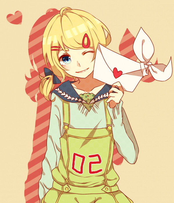 blonde_hair blue_eyes clothes_writing hair_ornament hairclip kagamine_rin letter looking_at_viewer love_letter short_hair smile solo subaru_(sbr116) twintails vocaloid wink