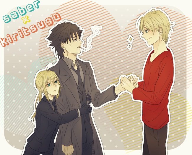 2boys ahoge bad_id black_eyes black_hair blonde_hair casual emiya_kiritsugu fate/prototype fate/zero fate_(series) formal green_eyes long_hair mmm_(xbit) multiple_boys necktie pant_suit ponytail saber saber_(fate/prototype) sparkle suit
