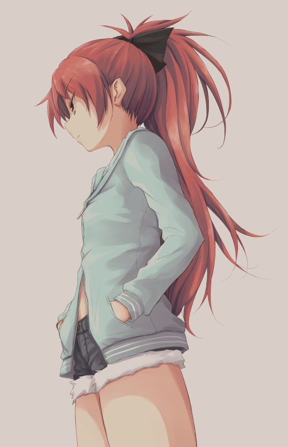 bow casual denim denim_shorts grey_background hair_bow hands_in_pockets hoodie long_hair mahou_shoujo_madoka_magica ponytail profile red_hair redhead sakura_kyouko shorts simple_background solo tatsuno_ryou