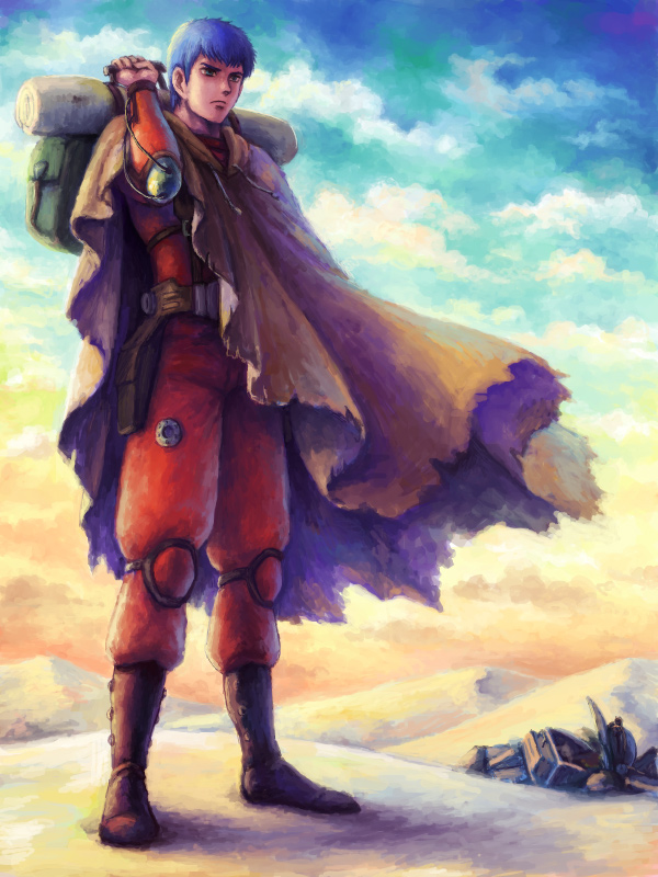 80s aqua_eyes armor backpack bag blue_hair boots chirico_cuvie cloak cloud clouds damaged desert holster knee_pads male mecha oldschool pilot_suit satou_toshio_(suisuisuisui) science_fiction scopedog shadow soukou_kihei_votoms suisuisuisui