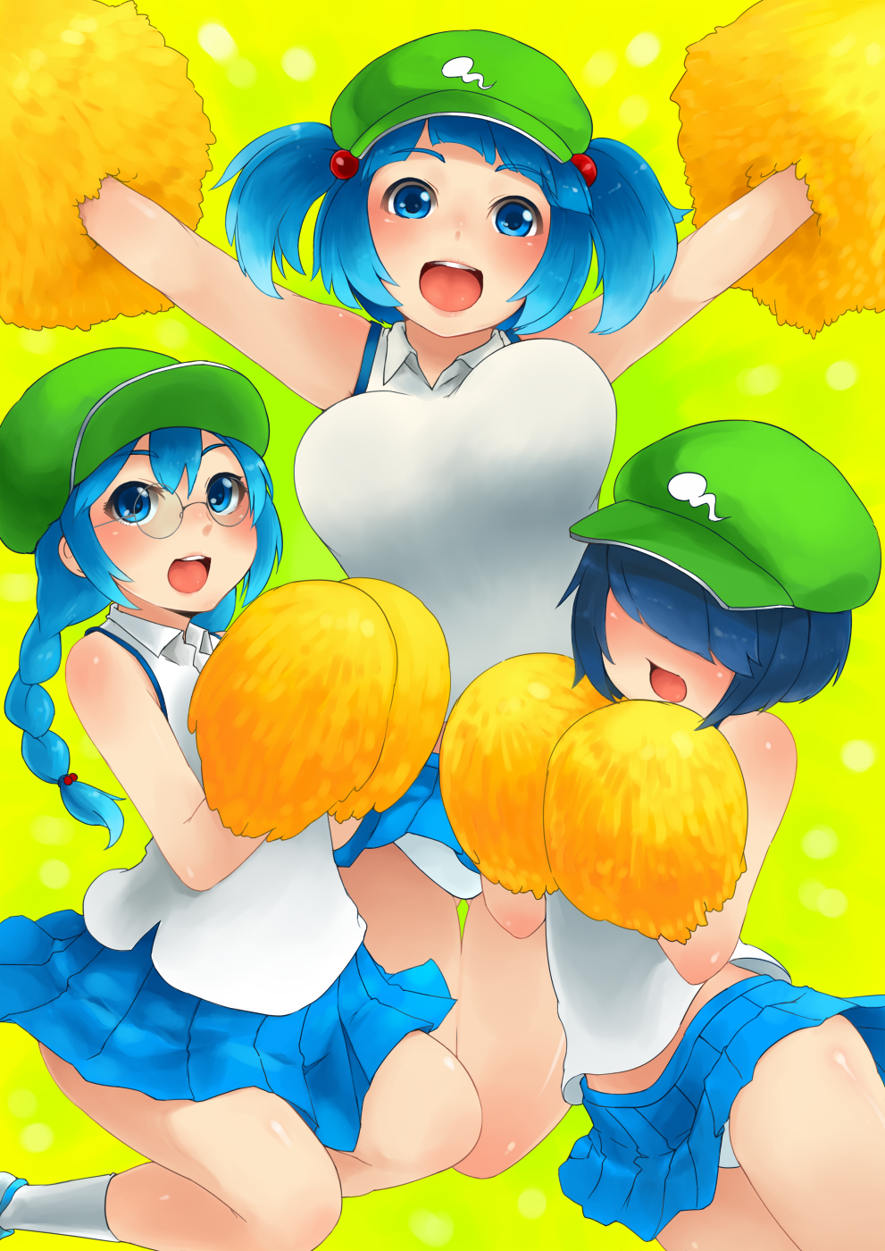 :d alternate_costume armpits arms_up blue_eyes blue_hair blush bouncing_breasts braid breasts cheerleader dark_haired_kappa extra glasses glasses_kappa hair_bobbles hair_ornament hair_over_eyes hat highres kappa_mob kawashiro_nitori large_breasts long_hair multiple_girls open_mouth panties pom_poms sakushin short_hair short_twintails skirt smile touhou twin_braids twintails underwear white_panties