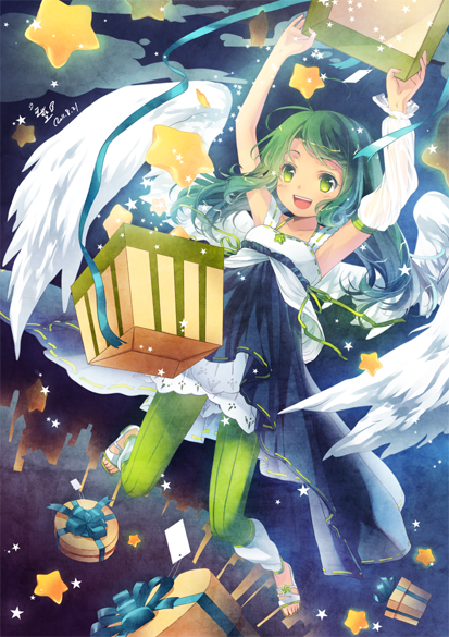 :d angel_wings armpits arms_up box daphine78805 flying gift gift_box green_eyes green_hair happy long_hair open_mouth original ribbon sandals smile star vertical-striped_legwear vertical_stripes wings