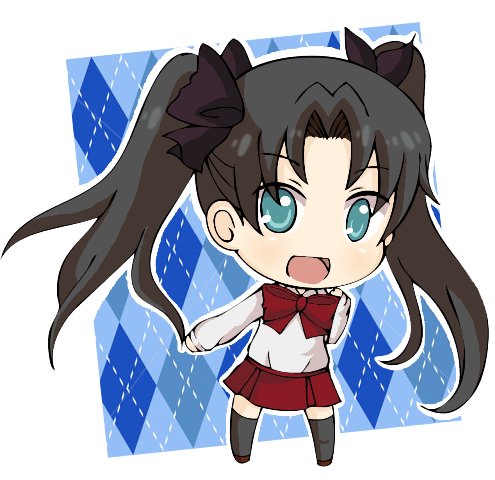argyle argyle_background black_hair black_legwear blue_eyes chibi fate/zero fate_(series) hair_ribbon long_hair lowres ribbon skirt smile tohsaka_rin toosaka_rin twintails yaya-9_(ximsol)