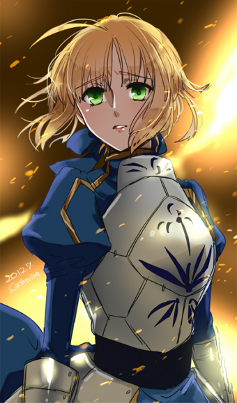 1girl ahoge armor blonde_hair dress fate/stay_night fate/zero fate_(series) gauntlets green_eyes hair_ribbon juliet_sleeves long_sleeves play_r puffy_shoulder_long_sleeves puffy_sleeves ribbon saber sad solo