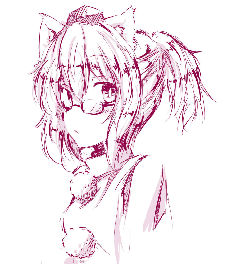 alternate_hairstyle animal_ears bespectacled bust chatamaru_(irori_sabou) glasses inubashiri_momiji monochrome ponytail simple_background solo touhou tyata-maru white_background wolf_ears