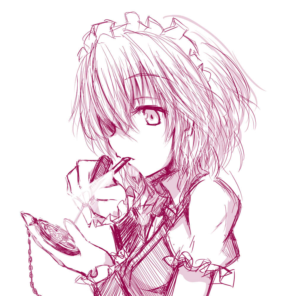 chatamaru_(irori_sabou) izayoi_sakuya monochrome mouth_hold pocket_watch short_hair simple_background solo touhou tyata-maru watch white_background