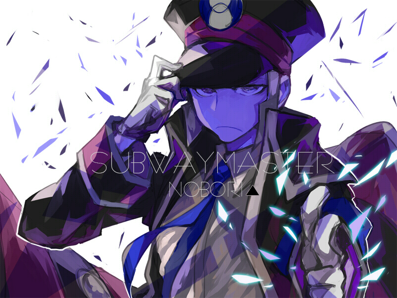gloves hat male necktie nobori_(pokemon) nod6125 peaked_cap pokemon pokemon_(game) pokemon_bw purple_eyes silver_hair solo uniform violet_eyes white_gloves