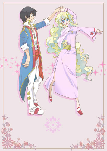 1boy 1girl adult blue_hair couple dancing dress hand_holding holding_hands hoshino_hitsuki lowres multicolored_hair nia_teppelin simon smile tengen_toppa_gurren_lagann two-tone_hair