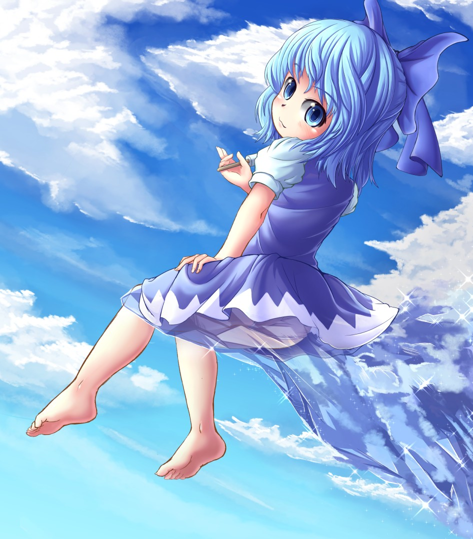 :3 adworse bare_legs barefoot blue_eyes blue_hair bow cirno cloud clouds feet hair_bow ice icicle looking_back panties pantyshot popsicle short_hair sitting sky solo touhou underwear white_panties