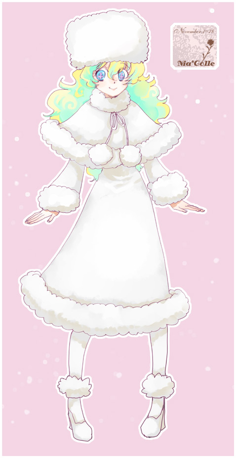 1girl coat fashion fur_coat fur_hat hat hoshino_hitsuki long_coat multicolored_hair nia_teppelin smile symbol-shaped_pupils tengen_toppa_gurren_lagann two-tone_hair winter_clothes