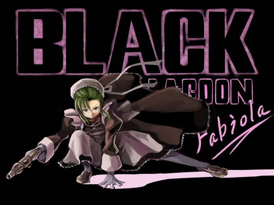 apron bangs black_lagoon bun_cover character_name fabiola_iglesias foge fringe gloves green_eyes green_hair gun hair_bun mag-7 maid pantyhose shoes short_hair shotgun solo title_drop weapon white_legwear