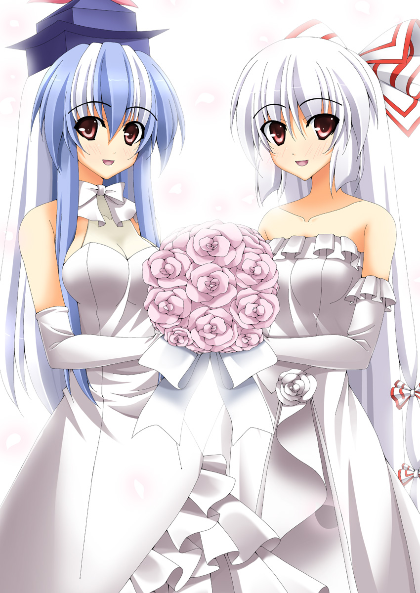 bare_shoulders blue_hair bouquet bow breasts cleavage dress elbow_gloves flower fujiwara_no_mokou gloves hair_bow hat highres kamishirasawa_keine long_hair looking_at_viewer multicolored_hair rapattu red_eyes silver_hair smile touhou two-tone_hair veil very_long_hair wedding_dress