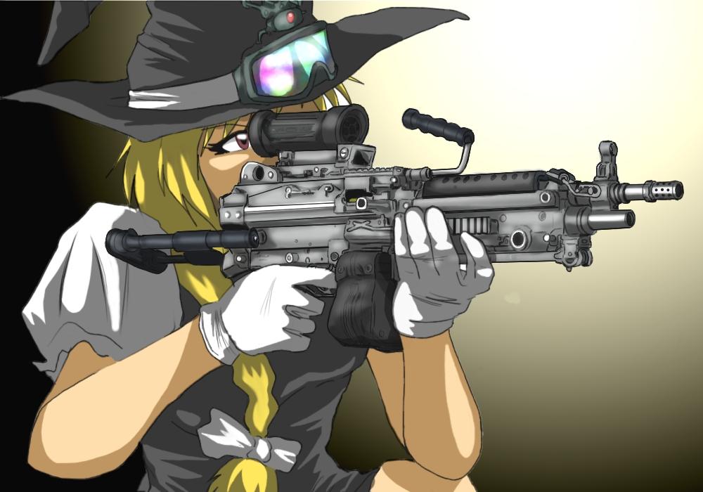 bow braid derivative_work gloves gun hair_bow hat junkei kirisame_marisa m249 machine_gun operator touhou weapon white_gloves witch_hat