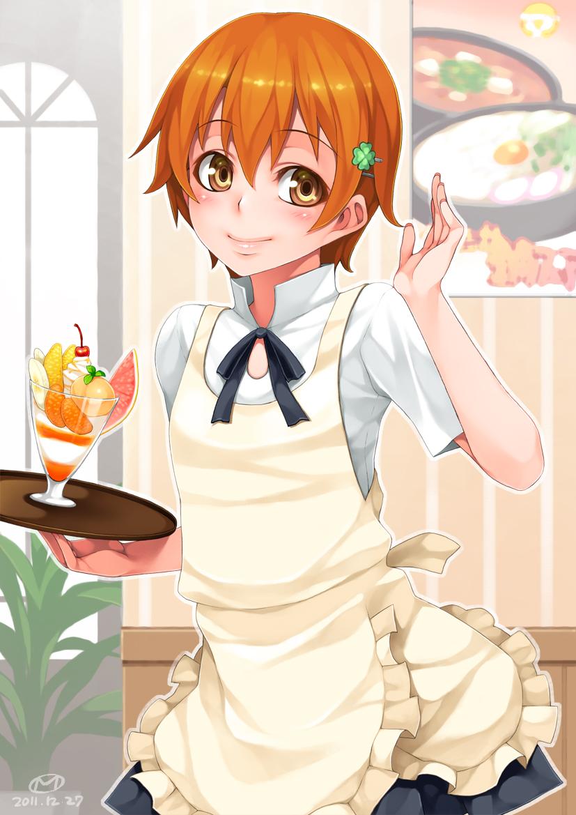 apron blush cherry dated food fruit glass happa_(cloverppd) holding inami_mahiru orange_eyes orange_hair short_hair smile solo tray waitress working!!