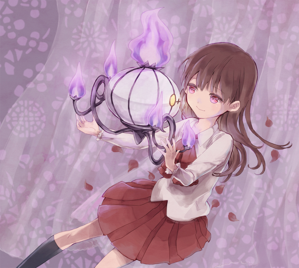 brown_hair chandelure crossover curtains eim_(gaziko) eve_(ib) ib ib_(ib) long_hair petals pleated_skirt pokemon red_eyes skirt smile