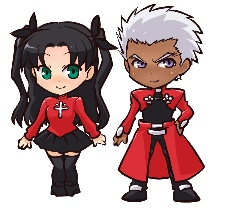 1boy 1girl archer black_hair black_legwear chibi dark_skin fate/stay_night fate_(series) green_eyes hair_ribbon long_hair purple_eyes ribbon thigh-highs thighhighs tohsaka_rin toosaka_rin two_side_up violet_eyes white_hair yuri_(freedom)