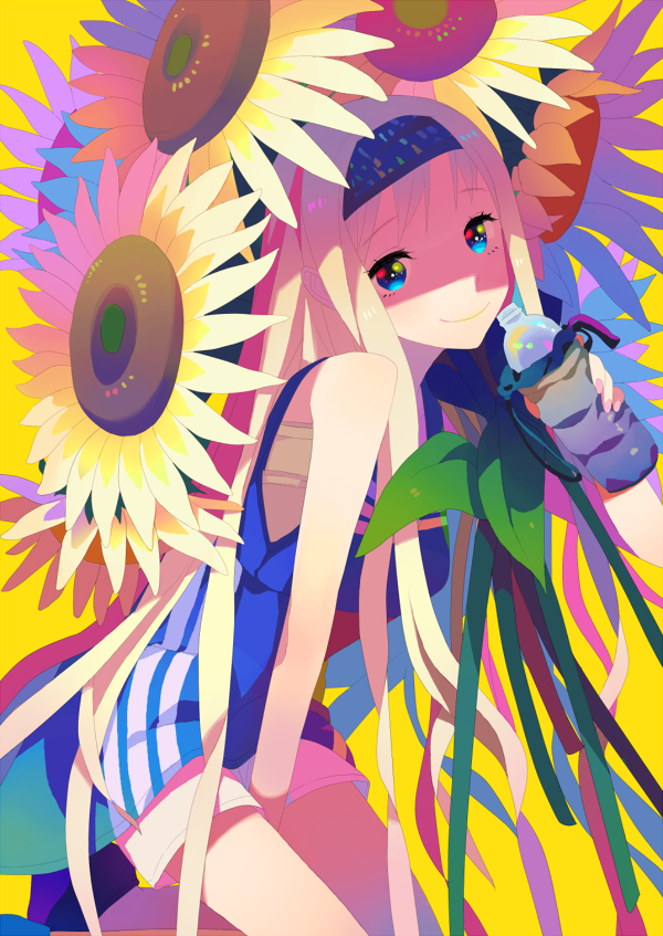 blonde_hair blue_eyes bottle flower hairband long_hair multicolored_eyes original shorts sleeveless smile solo sunflower very_long_hair yokariko