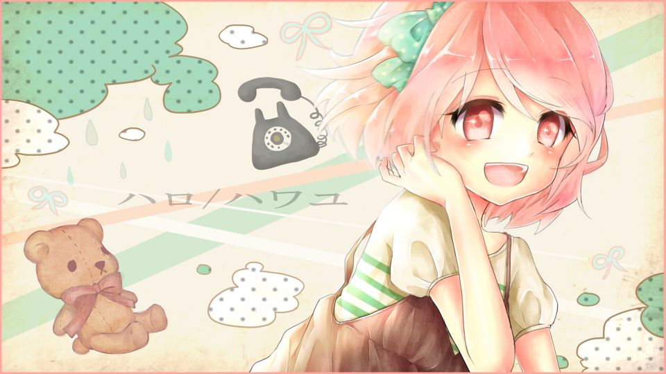 bad_id blush bow hair_bow hello/how_are_you_(vocaloid) open_mouth pink_eyes pink_hair saya7 short_hair smile solo vocaloid
