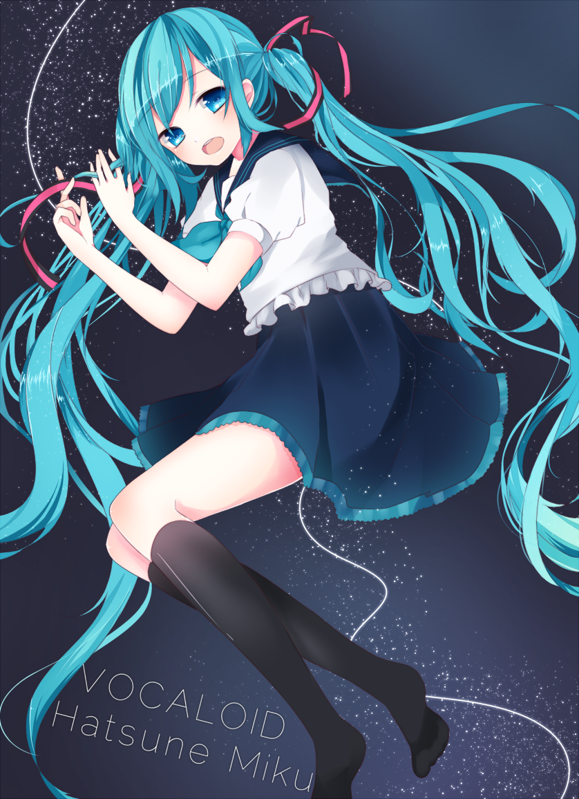 aqua_eyes aqua_hair character_name hair_ribbon hatsune_miku kanadetsuki_shion kneehighs long_hair open_mouth ribbon school_uniform serafuku skirt solo twintails very_long_hair vocaloid