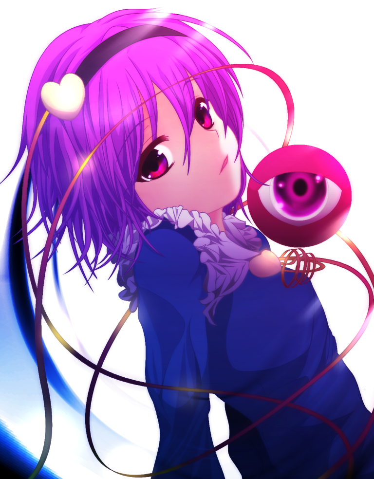 frills gradient_hair hairband heart komeiji_satori kotaroukuroo long_sleeves multicolored_hair open_mouth pink_eyes pink_hair purple_hair solo third_eye touhou