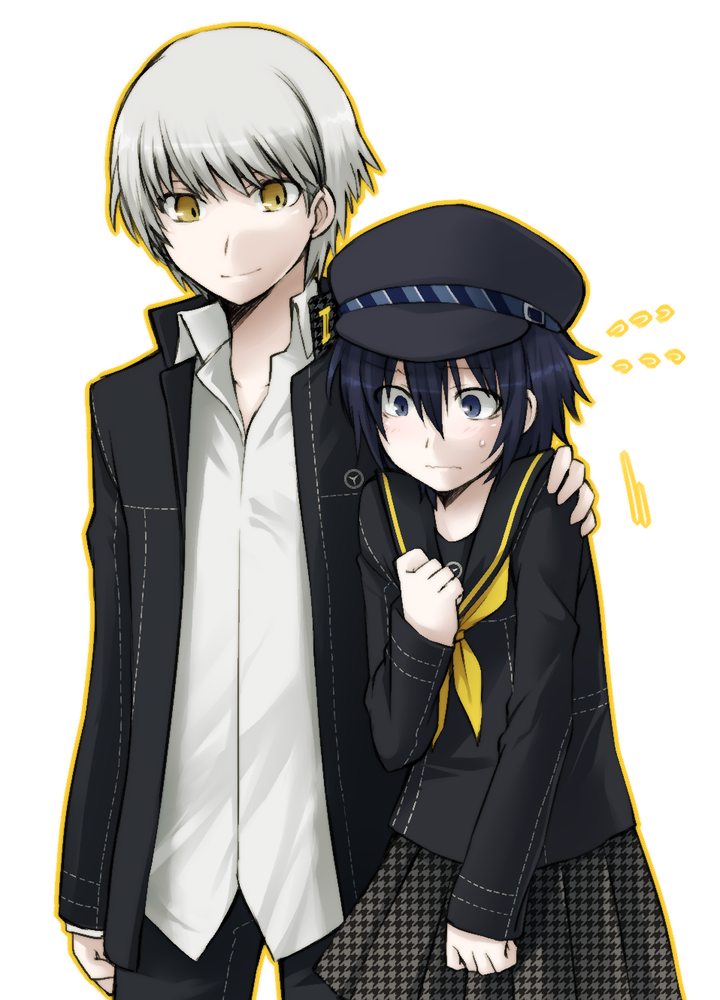 1girl androgynous blue_hair blush cabbie_hat couple dark_persona embarrassed grey_hair hat height_difference houndstooth idora idora_(idola) looking_at_viewer looking_down loose_shirt narukami_yuu persona persona_4 school_uniform serafuku shirogane_naoto short_hair simple_background skirt smile sweatdrop white_background yellow_eyes