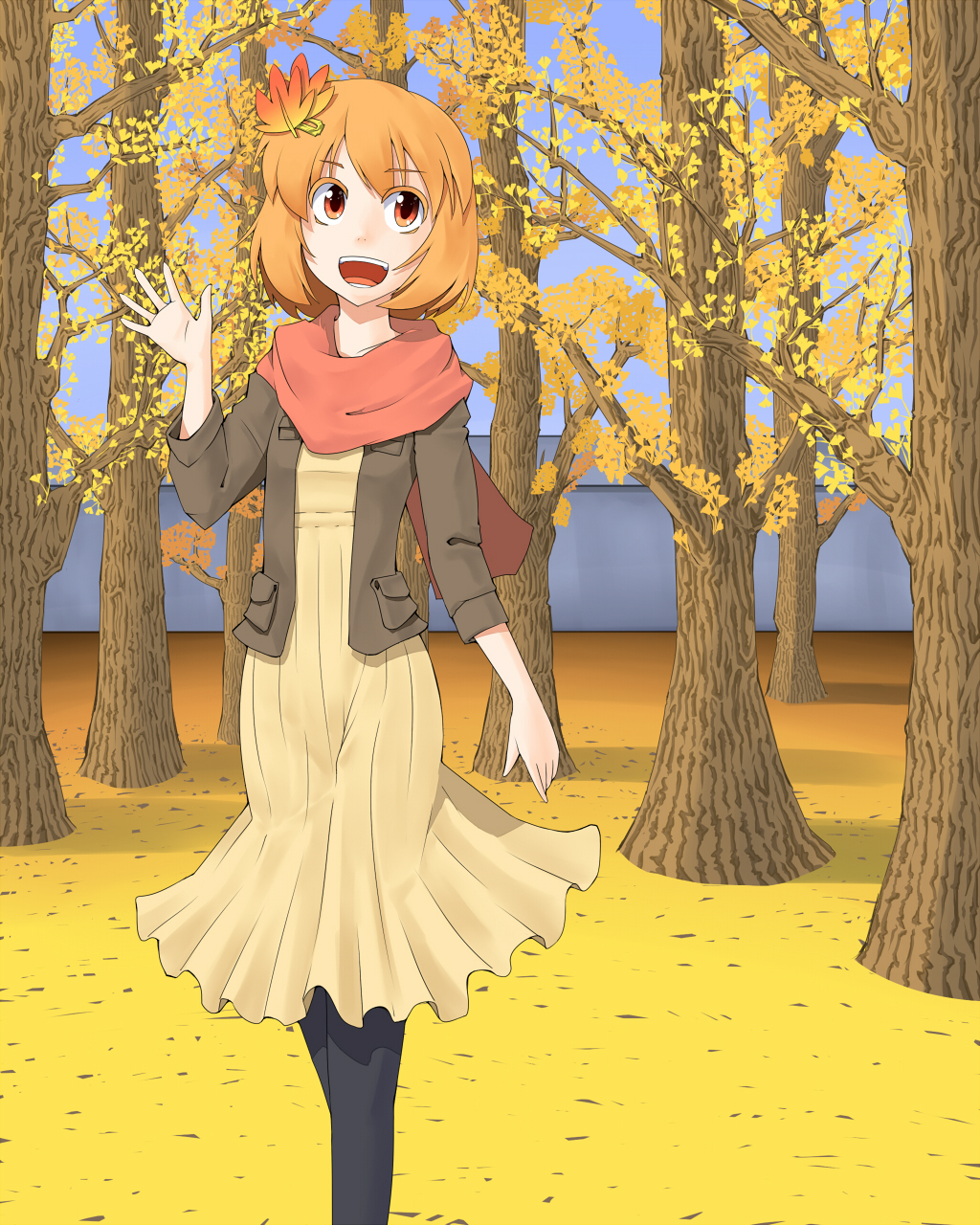 aki_shizuha autumn black_legwear blonde_hair dress futomashio hair_ornament hairclip highres leaf leaf_on_head open_mouth orange_eyes pantyhose scarf short_hair smile solo teeth touhou tree vest waving