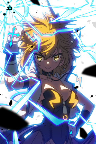 blonde_hair breasts bustier collar collarbone cross electricity gloves hand_on_hip hips jacket lowres masinhwangje parfunte pointing short_hair smile sword_girls yellow_eyes