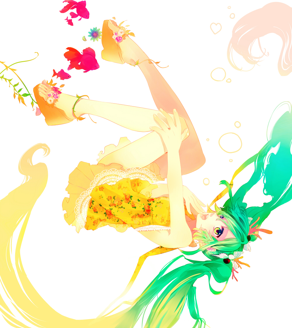 bad_id dress feet green_eyes green_hair hatsune_miku high_heels kyama long_hair open_mouth open_shoes simple_background solo twintails upside-down very_long_hair vocaloid white_background