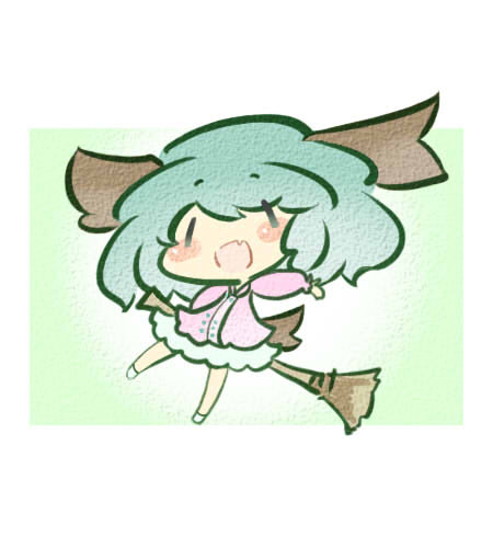 animal_ears blush_stickers broom chibi dog_ears dress fang green_hair homurabi kasodani_kyouko lowres open_mouth solo touhou |_|