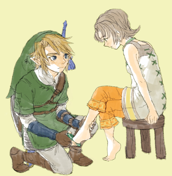 1girl anklet barefoot blonde_hair blue_eyes brown_hair capri_pants chair earrings feet gloves hat holding_feet ilia jewelry kneeling link penta5 pointy_ears shield short_hair sitting sword the_legend_of_zelda twilight_princess weapon