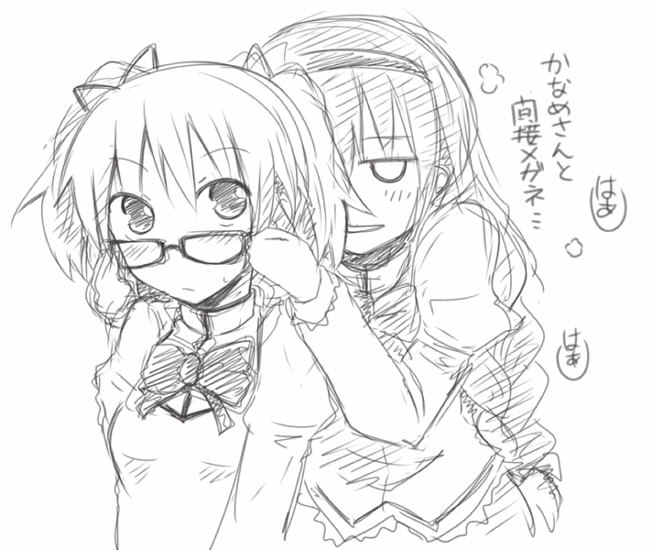 akemi_homura bespectacled blush braid glasses kaname_madoka long_hair mahou_shoujo_madoka_magica monochrome multiple_girls rock_heart school_uniform smile translated translation_request