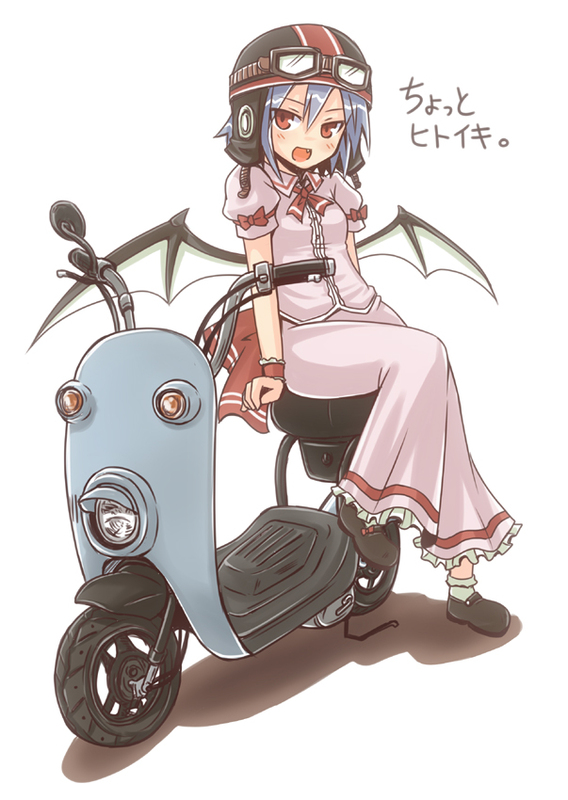 bat_wings blue_hair fang goggles helmet motor_vehicle red_eyes remilia_scarlet rock_heart scooter short_hair sitting solo touhou vehicle wings
