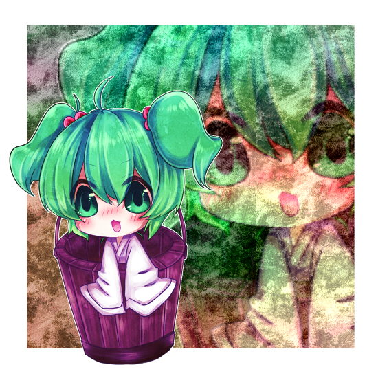 ahoge blush bucket green_eyes green_hair hair_bobbles hair_ornament in_bucket in_container kisume long_sleeves open_mouth short_hair solo touhou twintails wide_sleeves yuya_(night_lily)