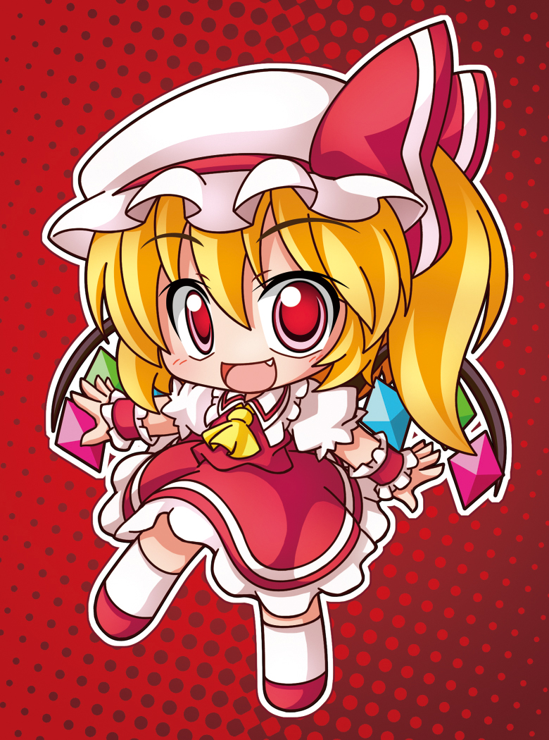 ascot crystal fang flandre_scarlet hat hat_ribbon open_mouth red_eyes ribbon shinjitsu side_ponytail solo touhou wings wrist_cuffs
