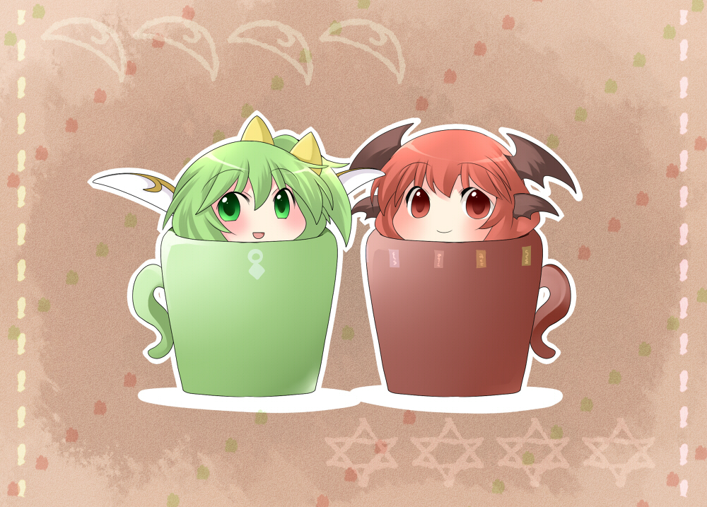 1girl :d aenobas blush breasts chibi cup daiyousei green_eyes green_hair hammer_(sunset_beach) head_wings koakuma looking_at_viewer multiple_girls open_mouth outline red_eyes red_hair redhead smile star touhou wings