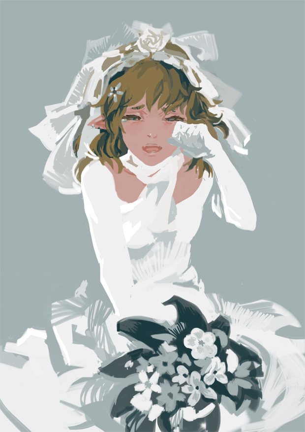 antiquewhite bouquet bride brown_hair dress flower grey grey_background mizuhashi_parsee open_mouth pointy_ears rose scarf short_hair simple_background solo tears touhou veil wedding_dress white_dress white_rose