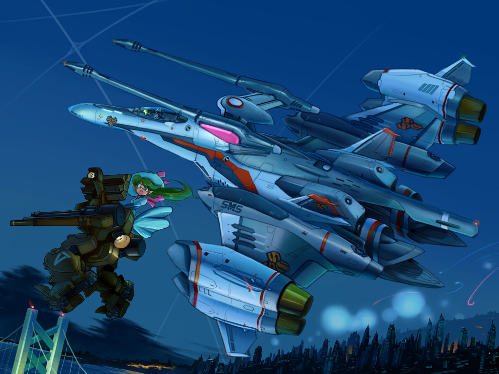alien angry battle bridge building cannon cheyenne_ii city cloud cockpit condensation_trail couple destroid dome dress ex-gear explosion flying giantess green_hair gun hat helmet inui's_meltran inui's_meltran inui_(jt1116) inui_(pixiv) island_1 jet long_hair machine_gun macross macross_frontier macross_frontier:_itsuwari_no_utahime mecha mecha_to_identify meltrandi n.u.n.s. night open_mouth pilot_suit pointy_ears power_suit riding s.m.s. saotome_alto science_fiction shouting sky space_craft tornado_pack vajra vf-25 weapon zentradi
