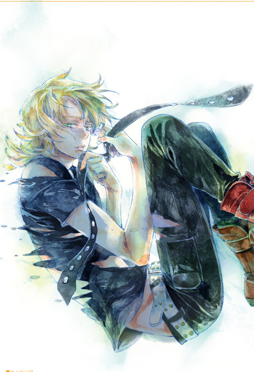 barnaby_brooks_jr blonde_hair boots floating green_eyes male necktie solo t-shirt tiger_&_bunny traditional_media watercolor_(medium) yunakazu