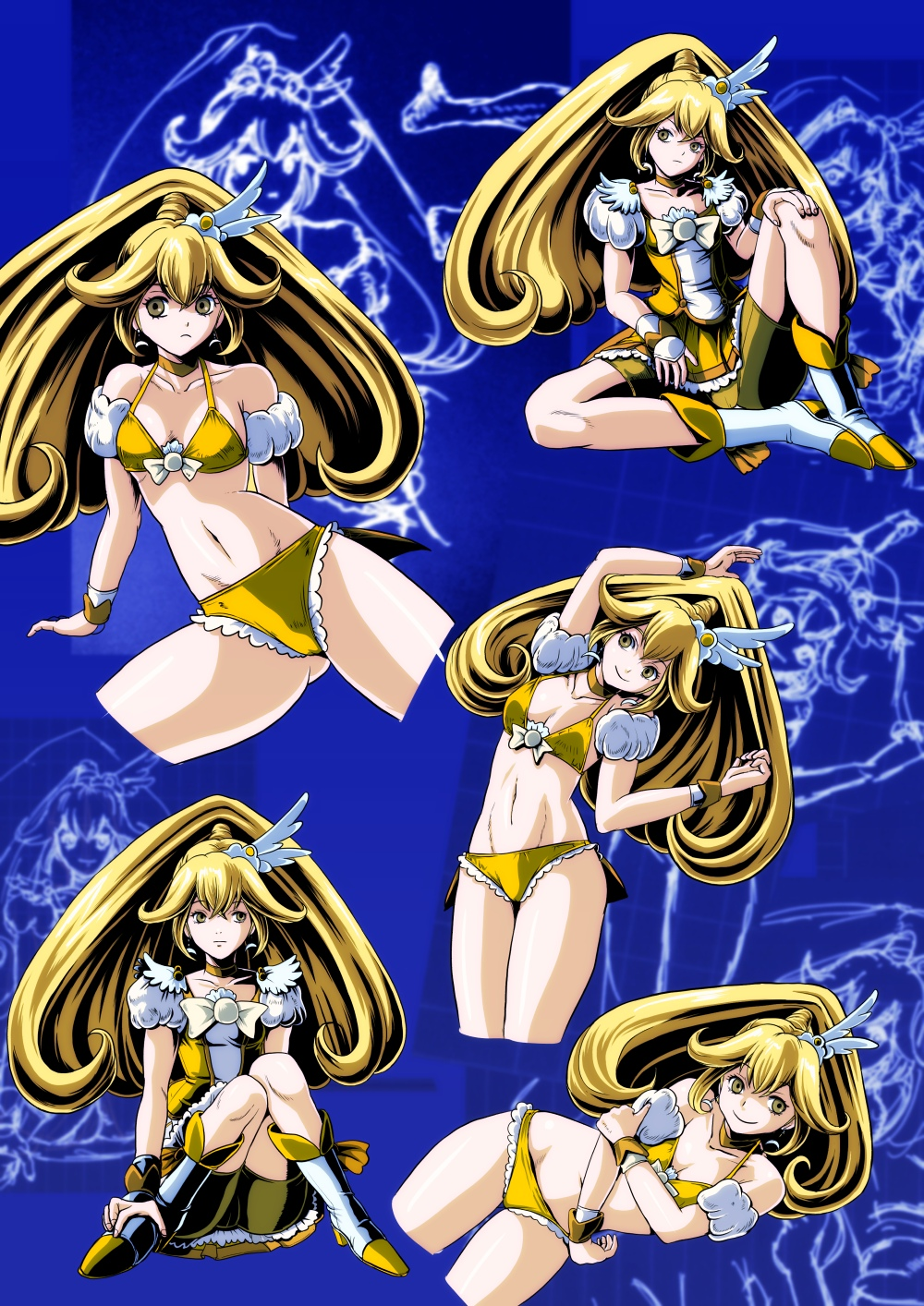 alternate_costume bike_shorts bikini blonde_hair blue_background boots bowtie brooch choker cure_peace dress frown highres jewelry kise_yayoi long_hair magical_girl minakaya multiple_persona precure shorts_under_skirt sitting skirt smile_precure! swimsuit wrist_cuffs yellow_bikini yellow_dress yellow_eyes