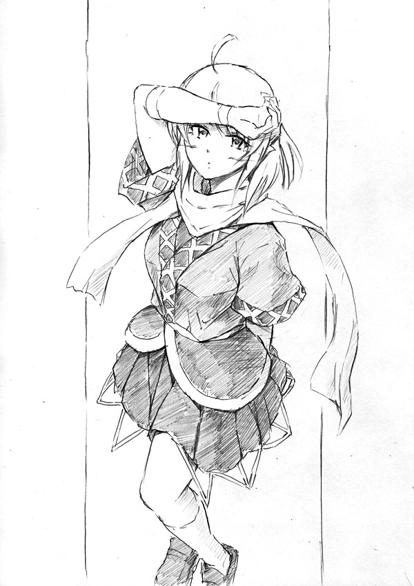 ahoge arm_behind_back kneehighs mizuhashi_parsee monochrome scarf short_hair short_sleeves skirt solo standing touhou traditional_media vent_arbre