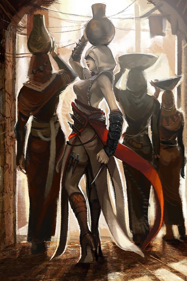 altair_ibn_la-ahad assassin's_creed genderswap hidden_blade weapon