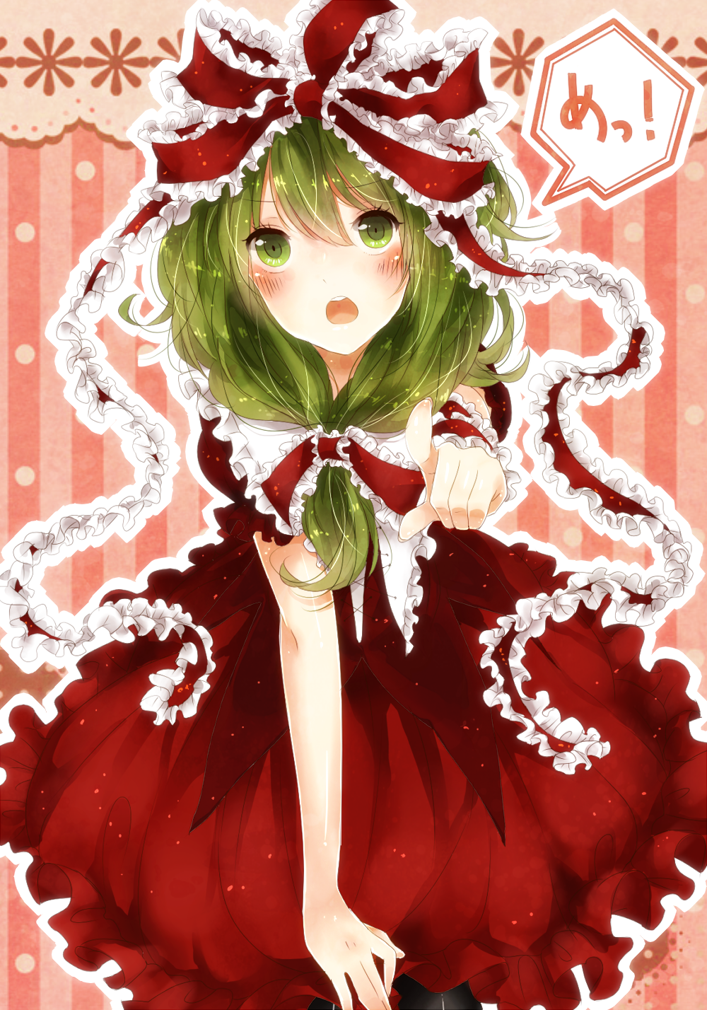 817nono black_legwear blush bow dress front_ponytail green_eyes green_hair hair_bow hair_ornament hair_ribbon highres kagiyama_hina long_hair looking_at_viewer open_mouth pantyhose pointing red_dress ribbon solo striped striped_background touhou