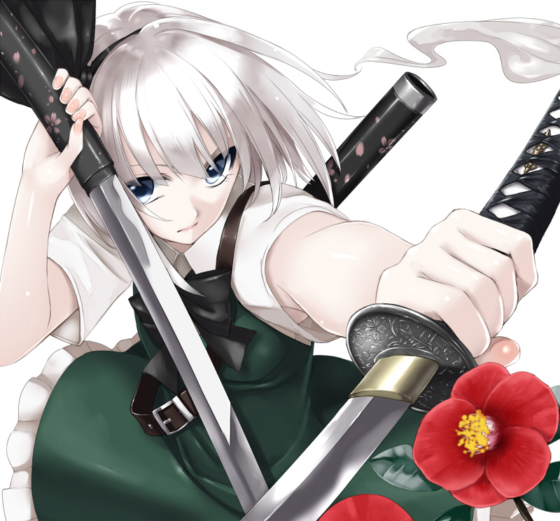 dual_wielding flower grey_eyes hairband holding katana konpaku_youmu looking_at_viewer outstretched_arm short_hair silver_eyes silver_hair simple_background solo sword takemori_shintarou touhou weapon white_background