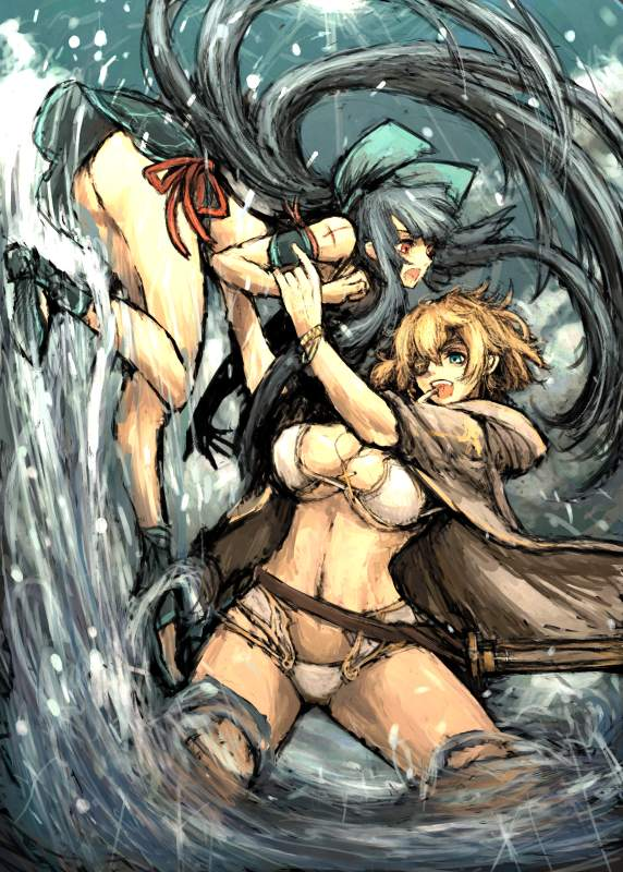 black_hair blonde_hair blue_eyes bow breasts eyepatch hair_bow jacket large_breasts long_hair moto_murabito multiple_girls navel original red_eyes very_long_hair water