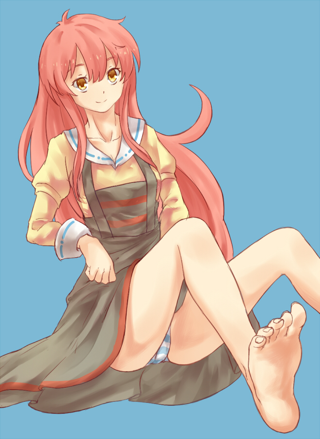 barefoot blue_background dress feet jinrui_wa_suitai_shimashita leikangmin long_hair panties pantyshot pink_hair solo striped striped_panties underwear watashi_(jintai) yellow_eyes